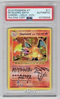 Pokemon Evolutions Mitsuhiro Arita Signé Charizard Holo # 11 Avec Sketch Psa / Adn
