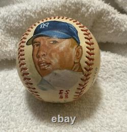 Portrait Peint À La Main De Mickey Mantle Signé Autographié Oal Baseball Psa/dna Loa