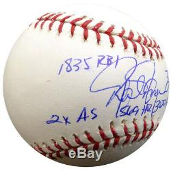 Rafael Palmeiro Autographiée Mlb Baseball Orioles Statball 6 Statistiques Psa / Dna 125140