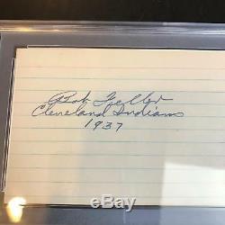 Rare 1937 Bob Feller Rookie Signé Psa Adn Coa Autographié Carte Index