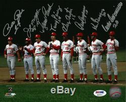 Reds Big Red Machine Autographiée 8x10 Photo 8 Banc De Sigs Rose Psa / Dna 92305