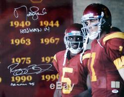 Reggie Bush Et Matt Leinart Autographié 16x20 Photo Usc Heisman Psa / Adn 15182