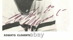Roberto Clemente Autographié 4x6 Photo Pirates Auto 7e Année Psa / Adn Ac01446