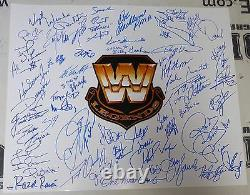 Roddy Piper Shawn Michaels Bret Hart +50 Wwe Légendes Signées 20x24 Photo Psa/adn