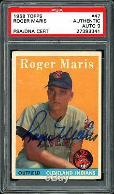 Roger Maris Autographié 1958 Rookie Card Yankees Topps Mint 9 Psa / Adn 27393341