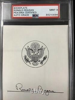 Ronald Reagan Signé Libris Autograph Psa / Adn Président Auto Mint 9 Slab De Nice