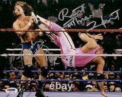 Rowdy Roddy Piper Bret Hart Signé 8x10 Photo Psa/dna Coa Wwe Photo Autograph