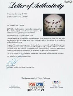 Ruth Yankees Babe Unique Signé / Autographié Sweet Spot Baseball Psa / Adn 152584