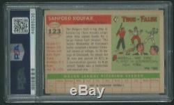 Sandy Koufax Psa / Adn 10 Gem Mint Signé 1955 Rookie Card # Topps 123 Autographié