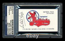 Satchel Paige Business Card Psa/dna Slabbed Autographied Hof Negro Leagues