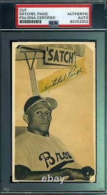 Satchel Paige Psa Adn Coa Autograph Signée À La Main 1950`s Photo