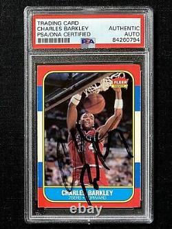 Signé 1986-87 Fleer Charles Barkley Autograph Rookie Card Psa/dna Coa Auto Rc