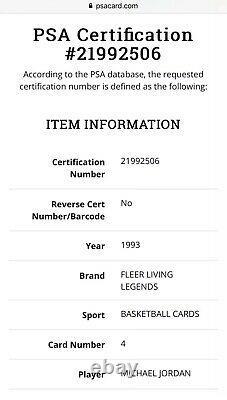 Signé 1993-94 Fleer Living Legends Michael Jordan Psa 10 Psa/dna Uda Auto Pop 1