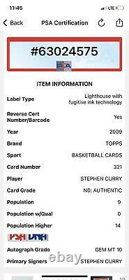 Stephen Curry #30 Warriors Signé 2009 Topps Rookie Card Psa/dna Auto 10