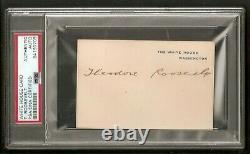 Theodore Teddy Roosevelt Président USA White House Card Signed Auto Psa/dna