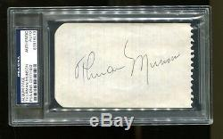 Thurman Munson Signé Cut 3x5 Autographiés Yankees Psa / Dna 83816413 Very Nice