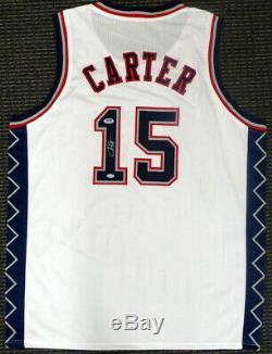 Vente! New Jersey Nets Vince Carter Autographié Signé Jersey Blanc Psa / Adn