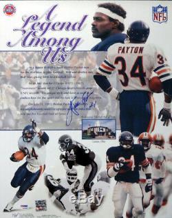 Vente! Walter Payton Autographié Signé 16x20 Chicago Bears Photo D'affiche Psa / Adn
