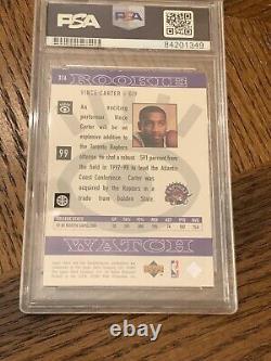 Vince Carter Autographed 1998 Upper Deck Rookie Card Signed Psa Dna Auto Raptors