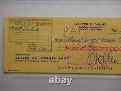Walt Disney Psa /dna Certifié Authentique Signé Autographié 1963 Check Rare! Menthe