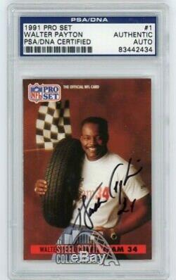 Walter Payton 1991 Pro Set Autographié Card Auto # 1 Psa / Adn