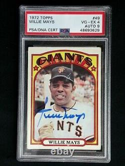 Willie Mays Psa/dna 1972 Topps Signé Carte #49 Autographe Grade 9 Mint Auto
