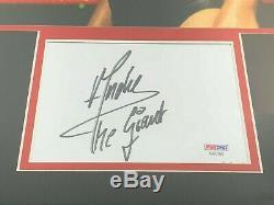 Wwf Andre The Giant Autographié 5x7 Filecard Psa / Adn Avec 11x17 Photo Encadrée