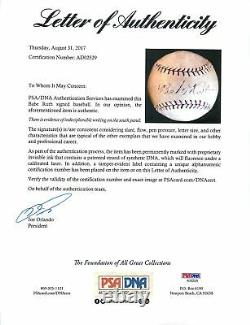 Yankees Babe Ruth Authentic Signé 1919-24 Heydler Onl Baseball Psa / Dna #ad02529