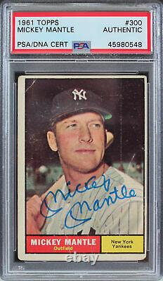 Yankees Mickey Mantle Authentic Signé 1961 Topps #300 Auto Card Psa / Dna Slabbed